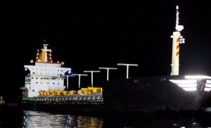 Large scale tanker at night
